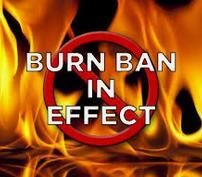 photo of fire and words burn ban
