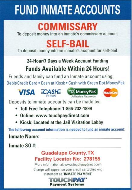 Fund Inmate Accounts information
