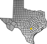 Map showing Guadalupe County location within the state of Texas